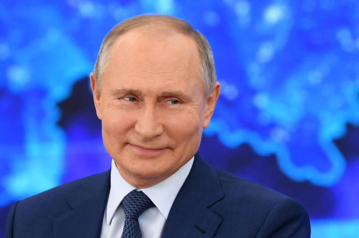 Russian President Vladimir Putin speaks via video call during a news conference in Moscow, Russia, Thursday, Dec. 17, 2020. This year, Putin attended his annual news conference online due to the coronavirus pandemic. (Aleksey Nikolskyi, Sputnik, Kremlin Pool Photo via AP)