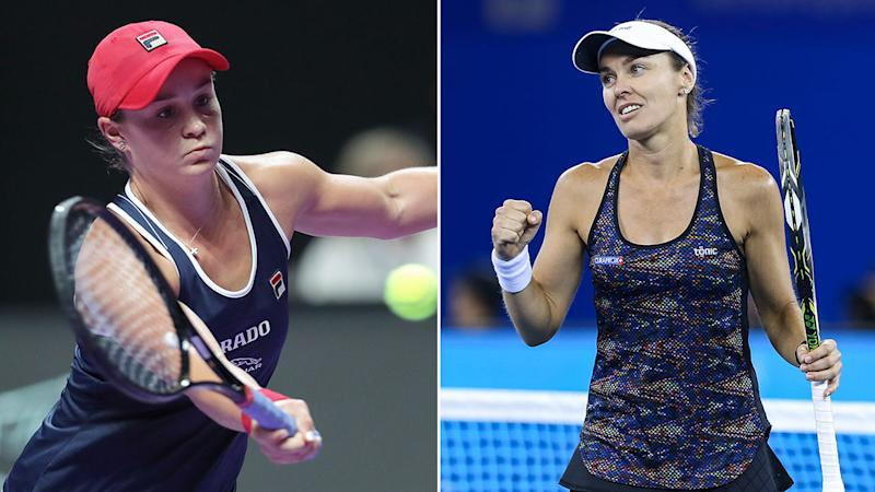 Pictured on the right, Martina Hingis thinks Ash Barty's game is only getting better.