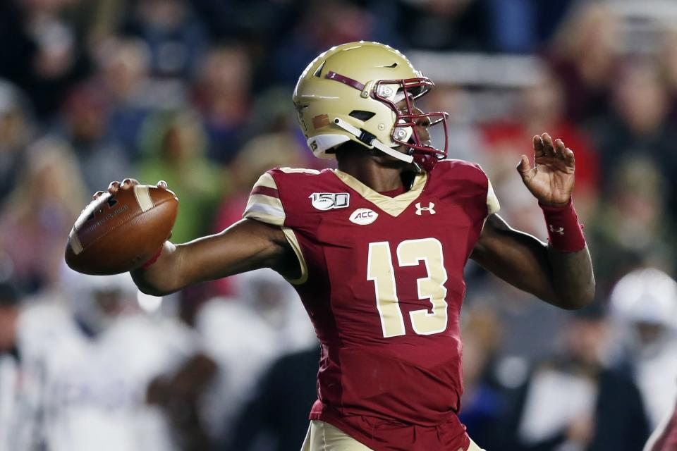 Boston College quarterback Anthony Brown passes during the first half of an NCAA college football game against Kansas in Boston, Friday, Sept. 13, 2019. (AP Photo/Michael Dwyer)