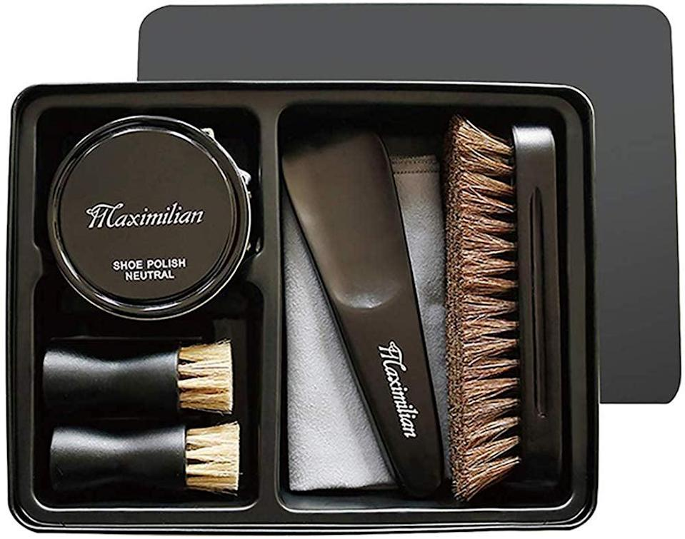 <p>His shoes will look brand new when he uses this <span>Maximilian Shoe Shine Kit</span> ($26).</p>