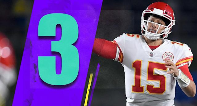 <p>A leftover thought from the Monday night thriller: Patrick Mahomes may loses ground in the MVP race despite 478 yards and six touchdowns. That sounds crazy, but he did turn it over five times. (Patrick Mahomes) </p>
