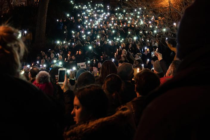 More than 1,000 people attend a candlelight vigil for murdered Barnard College student Tessa Majors on Dec. 15, 2019, in New York City.