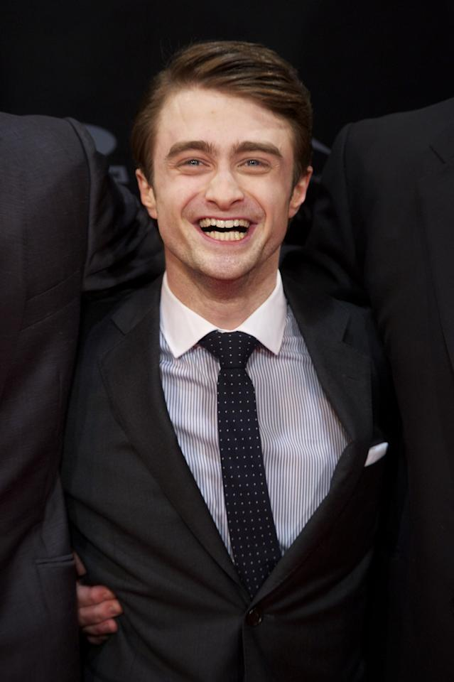 "MADRID, SPAIN - FEBRUARY 14:  Actor Daniel Radcliffe attends ""The Woman in Black"" (La Mujer de Negro) premiere at Callao cinema on February 14, 2012 in Madrid, Spain.  (Photo by Carlos Alvarez/Getty Images)"