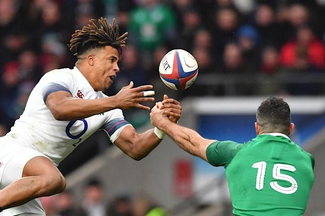 Anthony Watson suffered an Achilles injury playing for England against Ireland on Saturday (AFP Photo/Ben STANSALL)