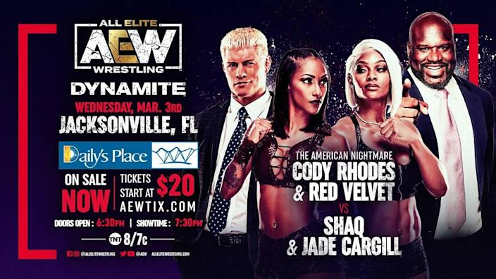 """Cody Rhodes and Red Velvet against Jade Cargill and Shaq on Wednesday, March 3 on """"AEW Dynamite"""" on TNT."""