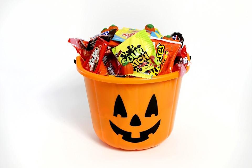 Halloween tub of candy.