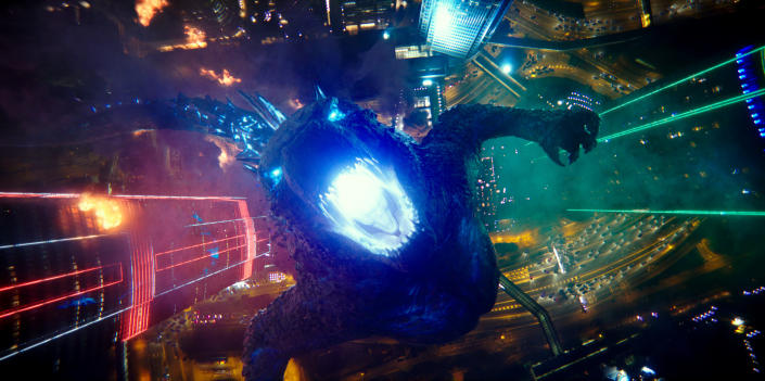 """This image released by Warner Bros. Entertainment shows a scene from """"Godzilla vs. Kong."""" (Warner Bros. Entertainment via AP)"""