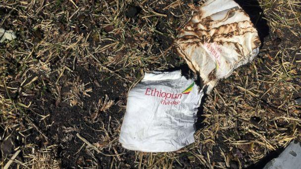PHOTO: Cabin serviettes are seen at the scene of the Ethiopian Airlines Flight ET 302 plane crash, near the town of Bishoftu, southeast of Addis Ababa, Ethiopia, March 10, 2019. (Tiksa Negeri/Reuters)