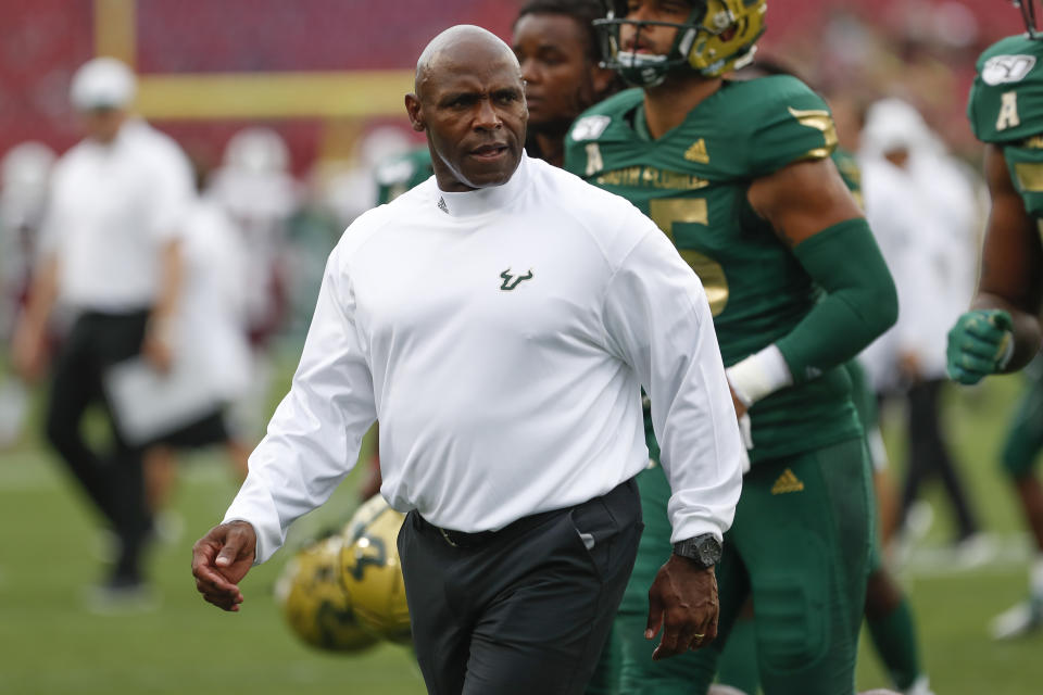 South Florida Bulls head coach Charlie Strong looks on during a college football game. (Getty)