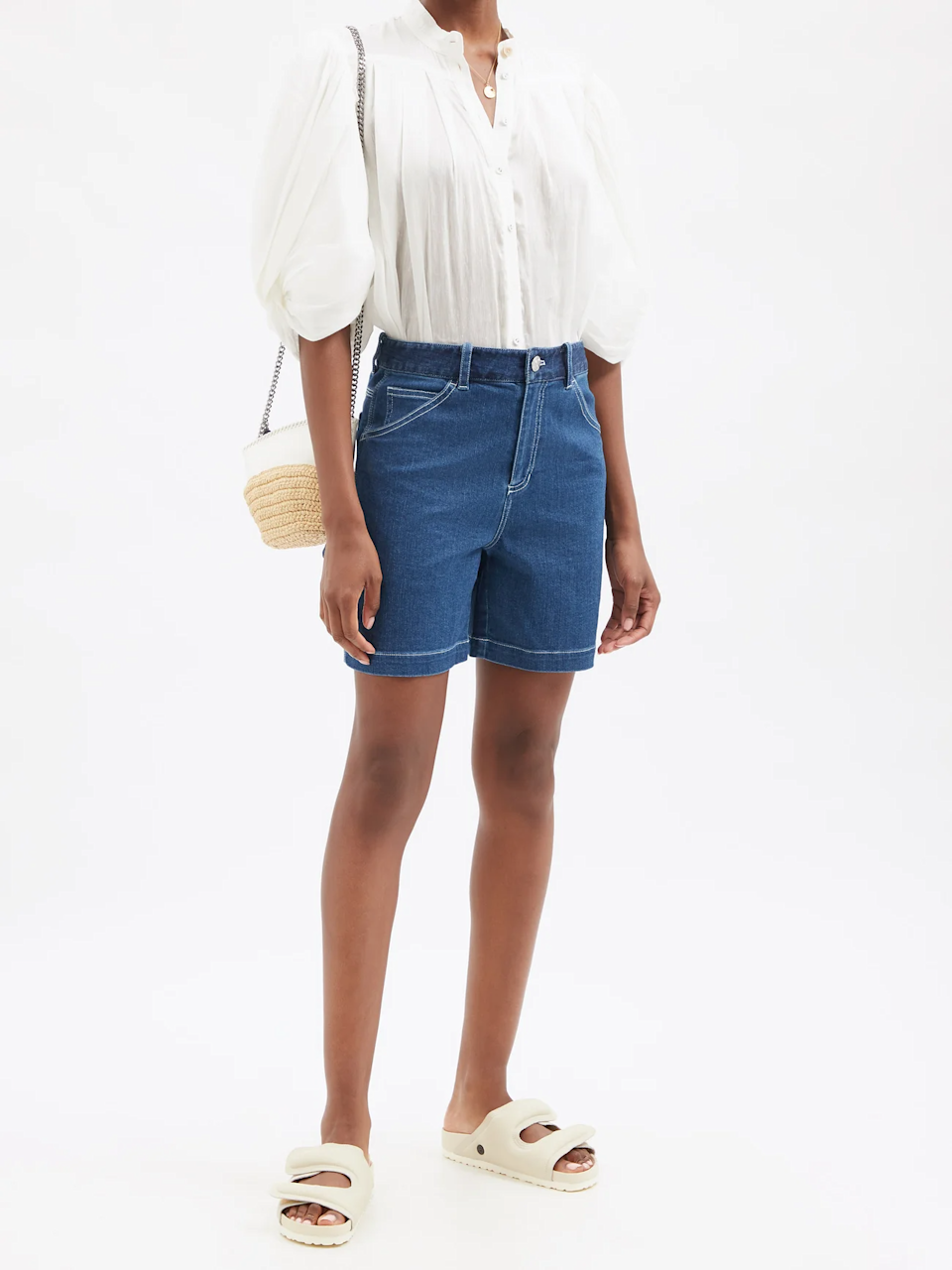 """<br><br><strong>Staud</strong> Painter High-Rise Denim Shorts, $, available at <a href=""""https://go.skimresources.com/?id=30283X879131&url=https%3A%2F%2Fwww.matchesfashion.com%2Fus%2Fproducts%2FStaud-Painter-high-rise-denim-shorts-1422044"""" rel=""""nofollow noopener"""" target=""""_blank"""" data-ylk=""""slk:Matches Fashion"""" class=""""link rapid-noclick-resp"""">Matches Fashion</a>"""