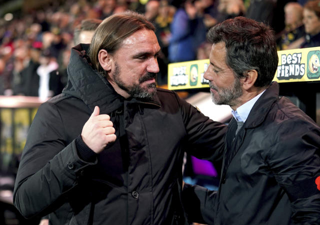 Watford manager Quique Sanchez Flores, right, and Norwich City manager Daniel Farke greet each other prior to the English Premier League soccer match at Carrow Road, Norwich, England, Friday Nov. 8, 2019. (John Walton/PA via AP)