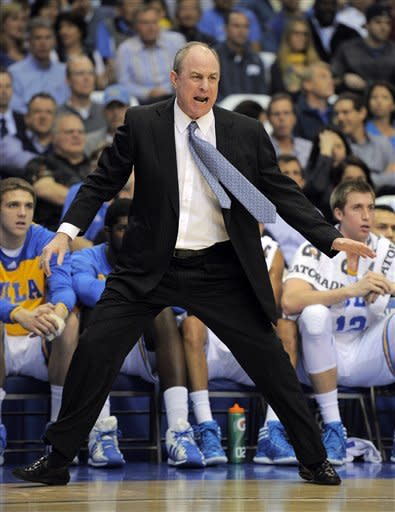 UCLA coach Ben Howland yells to his team during the first half of an NCAA college basketball game against Stanford, Thursday, Feb. 9, 2012, in Los Angeles. (AP Photo/Mark J. Terrill)