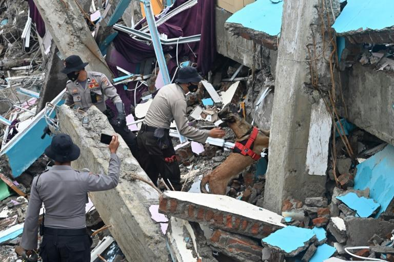 Police used dogs to search for survivors trapped under rubble in the hard-hit town of Mamuju