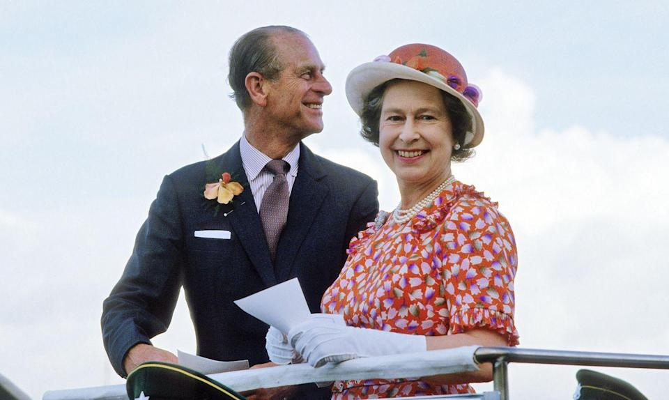 <p>The Queen and Prince Phillip smile during a visit to Fiji in February 1977.</p>