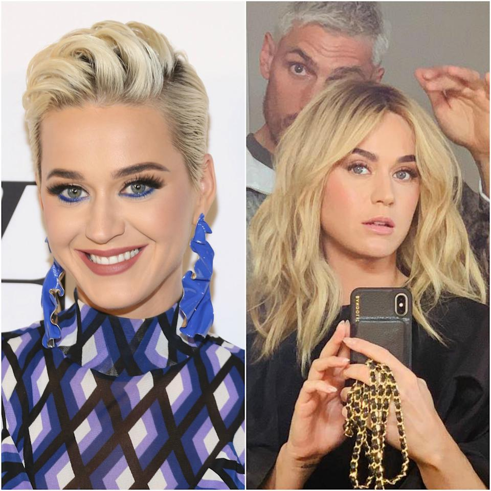 """Katy Perry <a rel=""""nofollow"""" href=""""https://www.allure.com/story/katy-perry-black-hair-hollywood-curls?mbid=synd_yahoo_rss"""">switches up her hair</a> more than most celebrities, which is saying a lot. So between her frequent, often vivid color changes and her recent penchant for platinum pixie cuts, it as actually quite surprising to see the singer with long, golden-blonde waves. Both she and stylist <a rel=""""nofollow"""" href=""""https://www.allure.com/topic/chris-appleton?mbid=synd_yahoo_rss"""">Chris Appleton</a> posted a photo of the new look to Instagram, and while neither said so, it's very likely that Perry's wearing a wig. (She's recently worn wigs in both a blonde bob style and a pink, shoulder-length look.) But it looks particularly realistic, thanks in part to warm blonde being the color she was born with."""