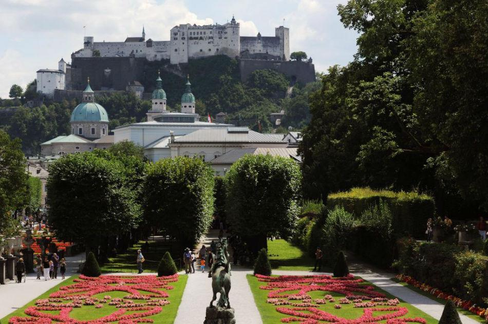 Mirabell Gardens are seen with Fortress Hohensalzburg in the background.