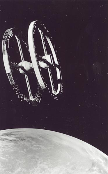 The classic space station image from the movie 2001:A Space Odyssey, directed by Stanley Kubrick in 1968.