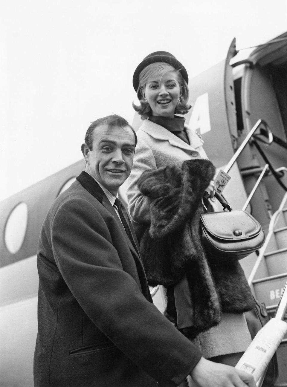 <p>Sean Connery and Daniela Bianchi leaving London for location filming in Istanbul to film 'From Russia With Love', 1963. </p>