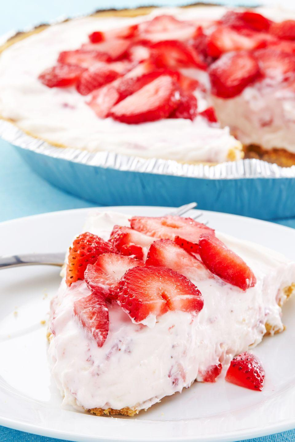"""<p>Mixing pureed strawberries into the cheesecake mixture gives it that lush pink color.</p><p>Get the recipe from <a href=""""https://www.delish.com/cooking/recipes/a43449/no-bake-strawberry-cheesecake-recipe/"""" rel=""""nofollow noopener"""" target=""""_blank"""" data-ylk=""""slk:Delish"""" class=""""link rapid-noclick-resp"""">Delish</a>.</p>"""