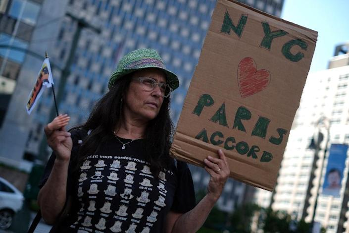 A woman demonstrates in New York on June 1, 2017, to protest US President Donald Trump's decision to pull out of the Paris climate accord (AFP Photo/Jewel SAMAD)