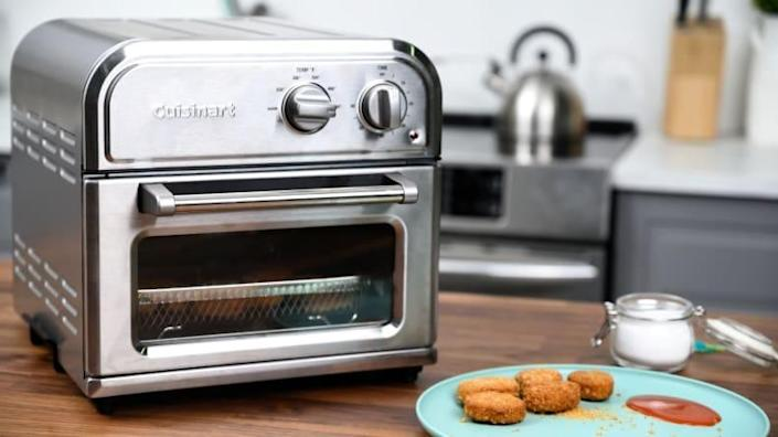Our best value pick is the Cuisinart Compact AirFryer, which unlike most air fryers has a flat basket that results in much more even and crispy results.