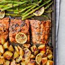 "<p>Yukon Golds are great here because they get crispy on the outside but completely creamy on the inside. A brush stroke or two of balsamic glaze provides a rich color and a sweet finish to the roasted salmon. <a href=""http://www.eatingwell.com/recipe/280094/rosemary-roasted-salmon-with-asparagus-potatoes/"" rel=""nofollow noopener"" target=""_blank"" data-ylk=""slk:View recipe"" class=""link rapid-noclick-resp""> View recipe </a></p>"