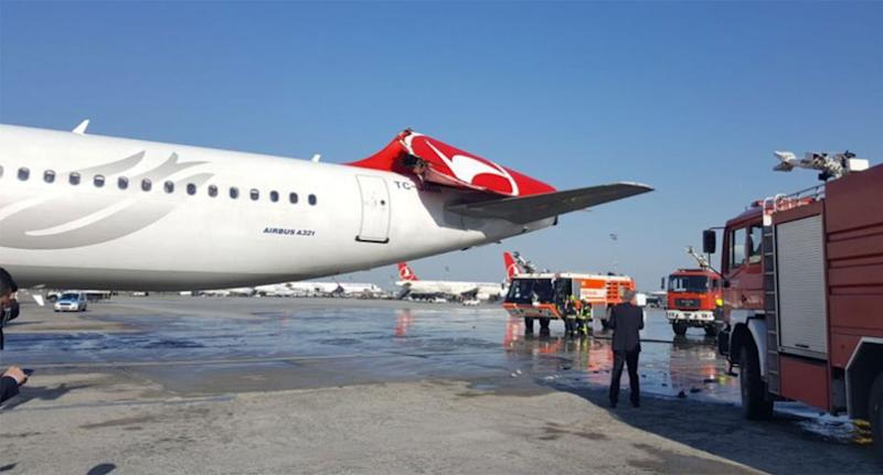 Collision at Istanbul airport damages plane