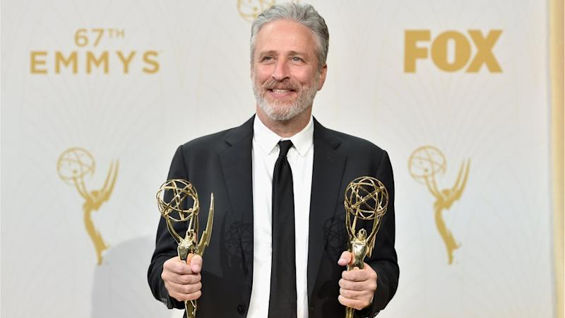 Jon Stewart winning two Emmy Awards for The Daily Show
