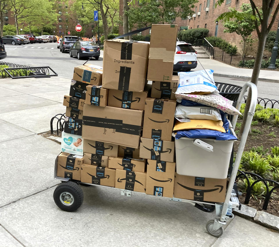 Photo by: STRF/STAR MAX/IPx 2021 5/11/21 Amazon destroyed more than 2 million counterfeit products sent by third party sellers to its fulfillment centers as part of a crackdown on counterfit merchandise. Here, Amazon packages out for delivery in Manhattan.