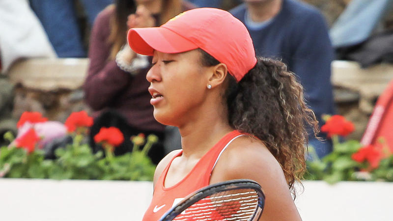 Naomi Osaka looks on during her match against Sara Sorribes of Spain in the Fed Cup, group round, played between Spain and Japan at Centro de Tenis La Manga Club on February 07, 2020 in Cartagena, Spain. (Photo by Irina R. H. / AFP7 / Europa Press Sports via Getty Images)