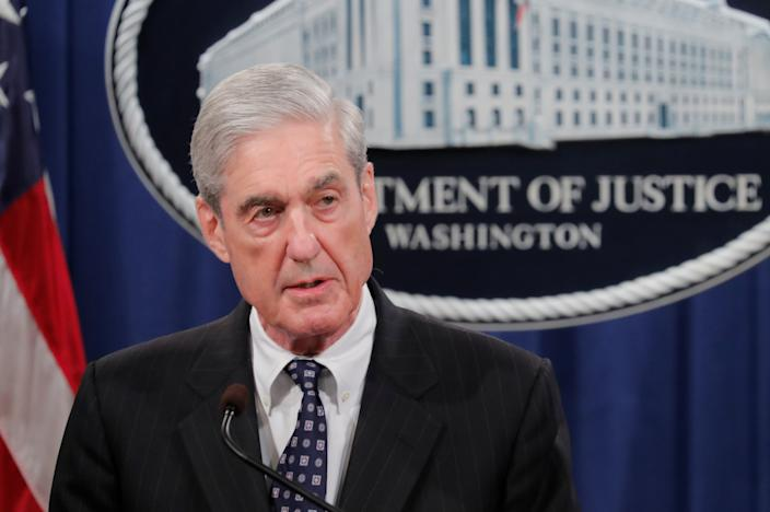 Special counsel Robert Mueller speaking on May 29 about his investigation into Russian interference in the 2016 U.S. presidential election. (Photo: Jim Bourg/Reuters)