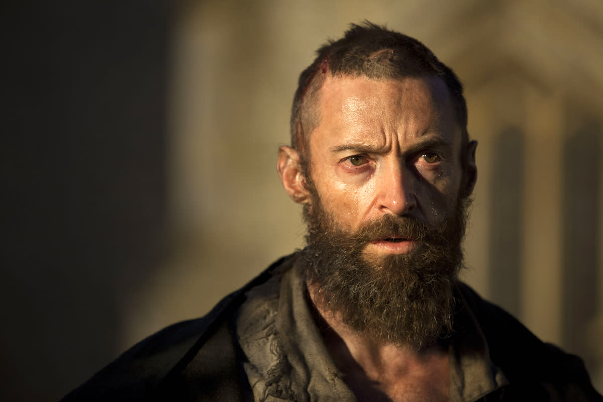 "Hugh Jackman growing a haggard beard was only part of the challenge for creating the look for his character Jean Valjean in ""Les Misérables.""  He lost 15 pounds and didn't drink water for 36 hours to truly achieve the effect."