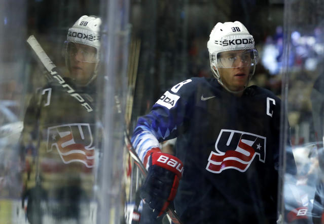 Patrick Kane of the United States walks on the bench during the Ice Hockey World Championships group B match between united States and South Korea at the Jyske Bank Boxen arena in Herning, Denmark, Friday, May 11, 2018. (AP Photo/Petr David Josek)