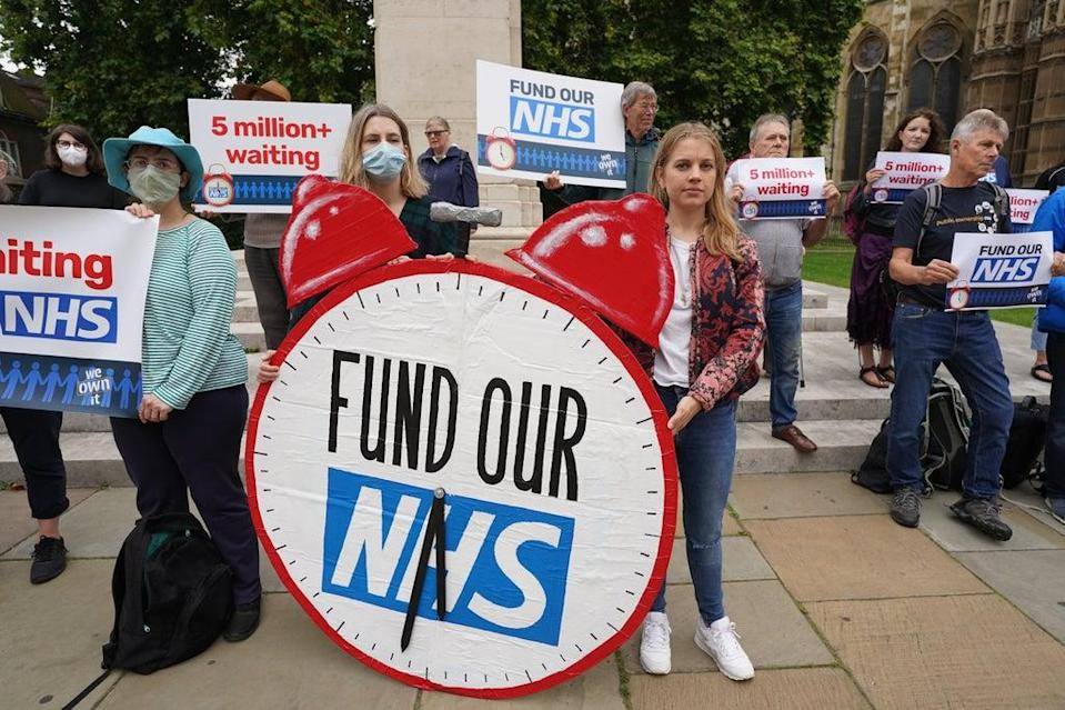 Campaigners are seeking more money for the NHS  (Stefan Rousseau/PA)