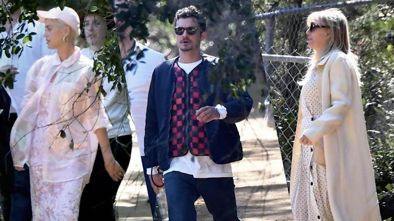 27a7a43fd6d3 Katy Perry, Orlando Bloom and Courtney Love (?) Attend Kanye's Sunday  Service