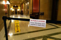 The normal public area outside the Minnesota House was closed to the public ahead of the debate in the House which is taking up the Public Safety Bill, Tuesday, June 29, 2021, in St. Paul, Minn. (AP Photo/Jim Mone)