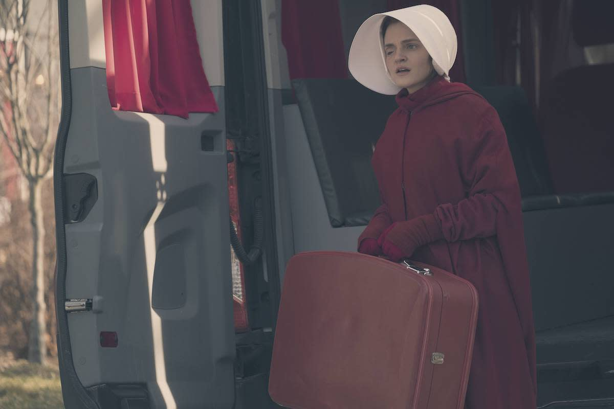 <p>Madeline Brewer as Janine in The Handmaid's Tale. (Credit: George Kraychyk/Hulu) </p>