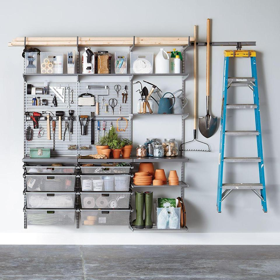 """<p><strong>Container Store</strong></p><p>containerstore.com</p><p><strong>$1612.00</strong></p><p><a href=""""https://go.redirectingat.com?id=74968X1596630&url=https%3A%2F%2Fwww.containerstore.com%2Fs%2Felfa%2Fbest-selling-solutions%2Fbasic-garage-solutions%2Felfa-utility-garage-planting-solution%2F123d%3FproductId%3D11010051&sref=https%3A%2F%2Fwww.popularmechanics.com%2Fhome%2Fg37190947%2Fbest-garage-storage-ideas%2F"""" rel=""""nofollow noopener"""" target=""""_blank"""" data-ylk=""""slk:Shop Now"""" class=""""link rapid-noclick-resp"""">Shop Now</a></p><p>This Elfa garage and garden storage package features shelving, trays, drawers, and hooks made of epoxy-bonded steel and durable ABS plastic. With easy-to-access containers and compartments, you can store your gardening items, tools, and more. Keep in mind, part of this will have to be mounted to the wall and installed by either you or The Container Store (for a fee). </p><p>If this setup is not quite what you're looking for, you can customize any Elfa garage solution to meet your needs. Just take inventory of what you have to store and take it from there. You can even talk to a customer rep to help you figure it out.</p><p><strong>_________________________________________________________</strong><em><br><br><a href=""""https://subscribe.hearstmags.com/subscribe/womansday/253396?source=wdy_edit_article"""" rel=""""nofollow noopener"""" target=""""_blank"""" data-ylk=""""slk:Subscribe to Woman's Day"""" class=""""link rapid-noclick-resp"""">Subscribe to Woman's Day</a> today and get 73% off your first 12 issues. And while you're at it, <a href=""""https://subscribe.hearstmags.com/circulation/shared/email/newsletters/signup/wdy-su01.html"""" rel=""""nofollow noopener"""" target=""""_blank"""" data-ylk=""""slk:sign up for our FREE newsletter"""" class=""""link rapid-noclick-resp"""">sign up for our FREE newsletter</a> for even more of the Woman's Day content you want.</em><br></p>"""