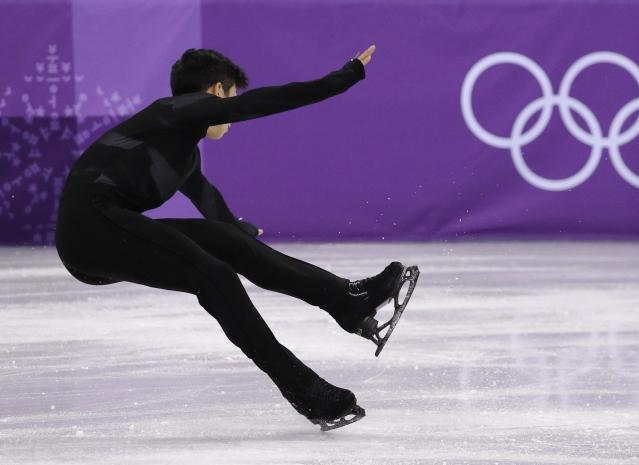 <p>United States' Nathan Chen stumbles during his performance in the men's single short program team event at the 2018 Winter Olympics in Gangneung, South Korea, Friday, Feb. 9, 2018. (AP Photo/David J. Phillip) </p>