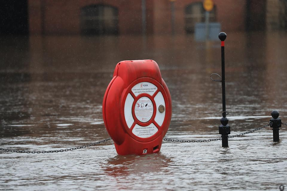 Flood water in York as Storm Christoph is set to bring widespread flooding, gales and snow to parts of the UK. Heavy rain is expected to hit the UK overnight on Tuesday, with the Met Office warning homes and businesses are likely to be flooded, causing damage to some buildings. Picture date: Tuesday January 19, 2021. (Photo by Danny Lawson/PA Images via Getty Images)