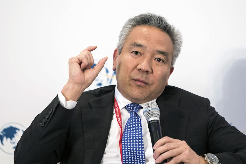 Kevin Tsujihara, chairman and chief executive officer of Warner Bros Entertainment Inc., speaks during the Boao Forum for Asia Annual Conference 2017 in Boao, China, on Friday, March 24, 2017. The annual event sees business and political leaders come together and runs from March 23 to 26. Photographer: Qilai Shen/Bloomberg via Getty Images