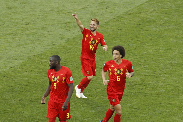 Belgium's Dries Mertens, top, celebrates after scoring the opening goal during the group G match between Belgium and Panama at the 2018 soccer World Cup in the Fisht Stadium in Sochi, Russia, Monday, June 18, 2018. (AP Photo/Victor R. Caivano)