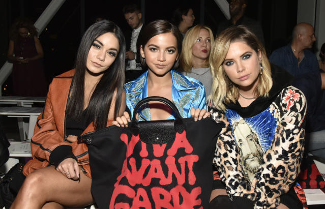 Vanessa Hudgens, Isabella Moner, and Ashley Benson at Jeremy Scott. (Photo: Getty)