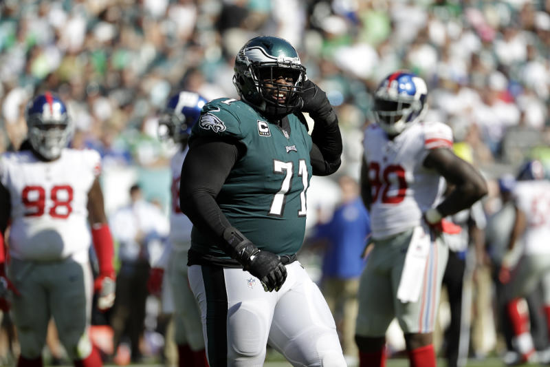 Philadelphia Eagles offensive tackle Jason Peters is out for the season, but he's still enjoying his first Super Bowl trip. (AP)
