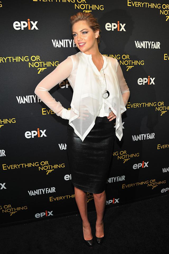 "NEW YORK, NY - OCTOBER 03:  Kate Upton attends EPIX presents the premiere of ""Everything or Nothing: The Untold Story of 007"" at MOMA on October 3, 2012 in New York City.  (Photo by Dimitrios Kambouris/Getty Images for Epix)"