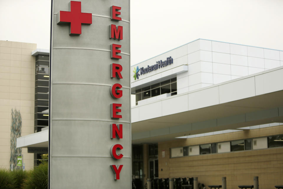 FILE - In this Sept. 10, 2021 file photo an emergency department sign is photographed at Kootenai Health, in Coeur d'Alene, Idaho. Idaho's public health leaders have expanded health care rationing statewide amid a massive increase in the number of coronavirus patients requiring hospitalization. The Idaho Department of Health and Welfare made the announcement Thursday Sept. 16, 2021. (AP Photo/Young Kwak,File)