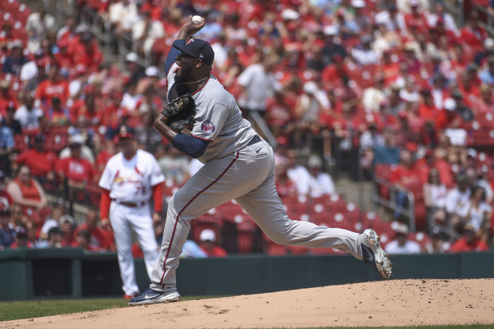 Minnesota Twins starting pitcher Michael Pineda throws during the first inning of a baseball game against the St. Louis Cardinals on Sunday, Aug. 1, 2021, in St. Louis. (AP Photo/Joe Puetz)