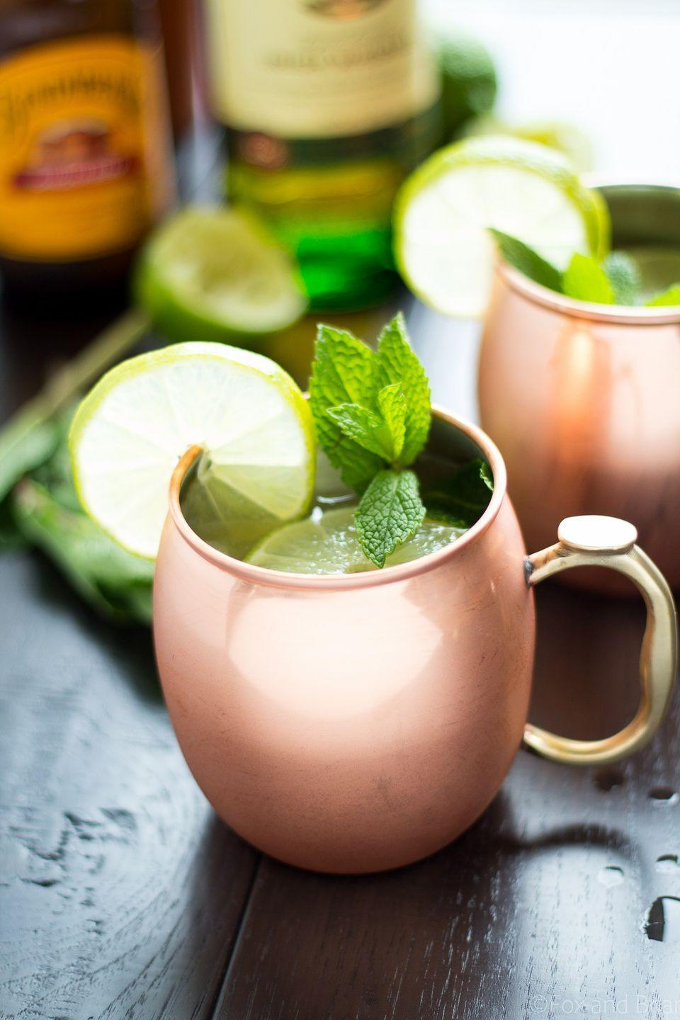 """<p>It's time to switch it up from Moscow.</p><p>Get the recipe from <a href=""""http://www.foxandbriar.com/the-irish-mule/"""" rel=""""nofollow noopener"""" target=""""_blank"""" data-ylk=""""slk:Fox and Briar"""" class=""""link rapid-noclick-resp"""">Fox and Briar</a>.</p>"""