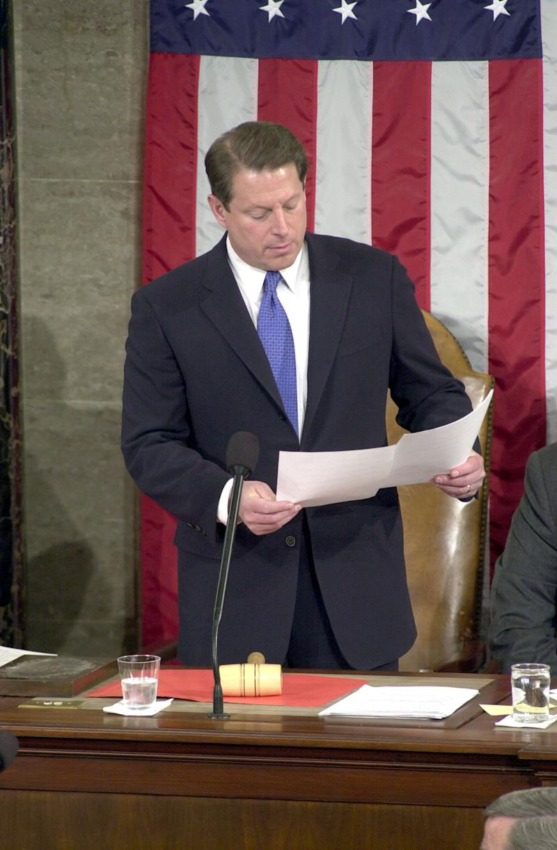 Then-Vice President Al Gore was put in the uncomfortable position of certifying before Congress in early January of 2001 that George W. Bush had defeated him in the hotly contested and controversial election two months earlier. (Photo: Marshall via Getty Images)