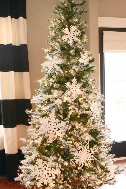 """<p>Paper snowflakes cost next-to-nothing and make for simple yet elegant decor. Keep the look polished with white string lights. </p><p><em><a href=""""http://www.theyellowcapecod.com/2011/11/holiday-home-series-tips-decorate-your.html"""" rel=""""nofollow noopener"""" target=""""_blank"""" data-ylk=""""slk:Get the tutorial at The Yellow Cape Cod »"""" class=""""link rapid-noclick-resp"""">Get the tutorial at The Yellow Cape Cod »</a></em></p>"""